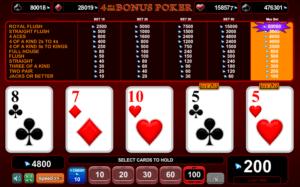 Jocul de cazino online 4 of a Kind Videopoker gratuit