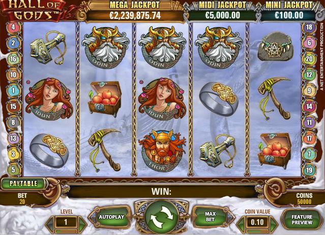 Joaca gratis pacanele Hall of Gods online