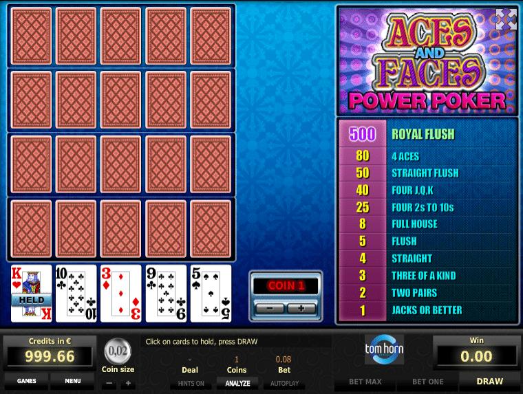Joaca gratis pacanele Aces and Faces 4H online
